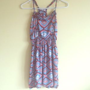 Blue, Pink, Gray Tribal Print Summer Dress
